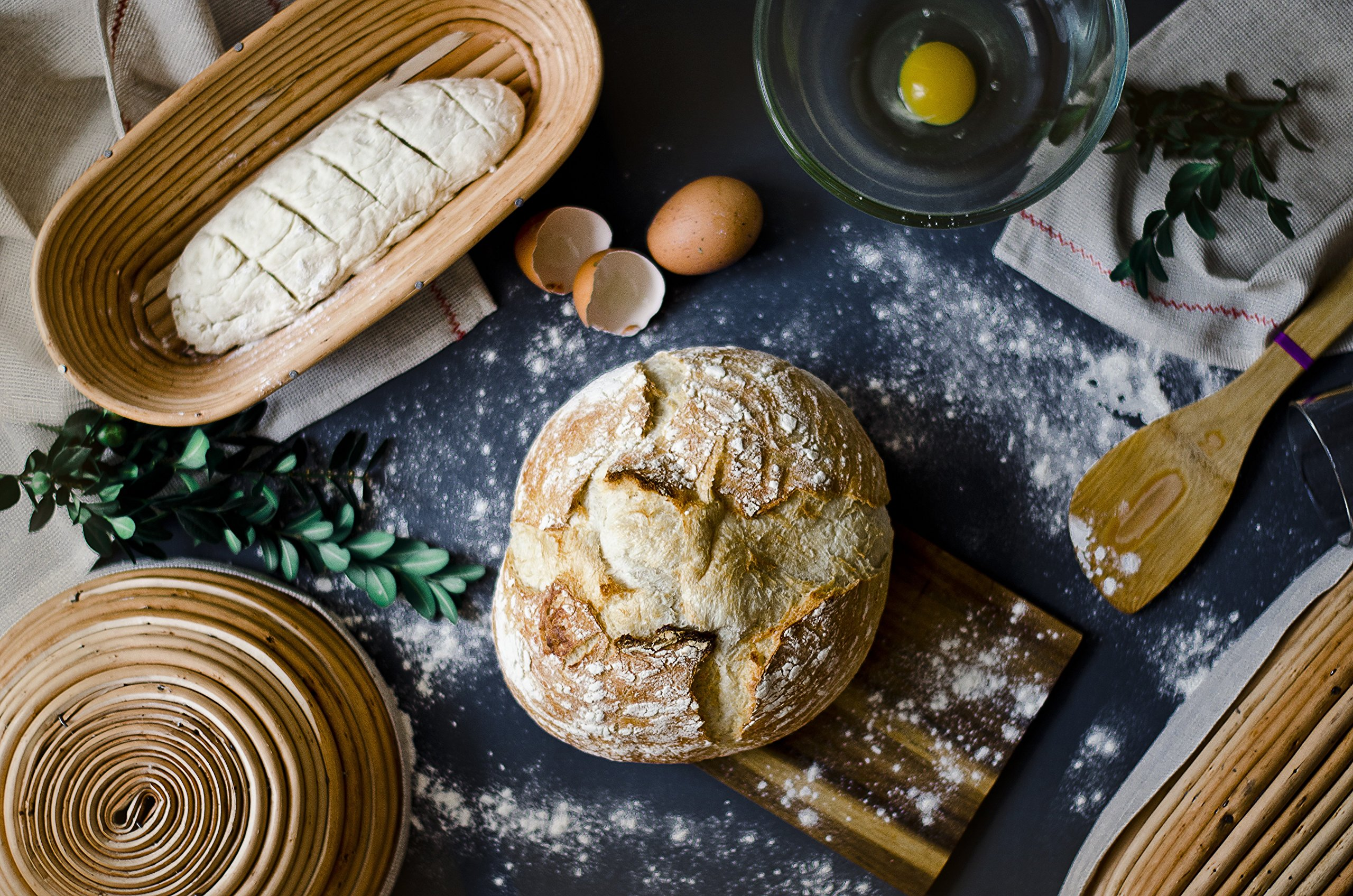 Bread Banneton 1kg (Rounde 8.6 x 3.5 inches) Willow Proofing Basket Best Bakery Themed Gifts for Women with Linen Liner Covers by My little bakery (Image #6)