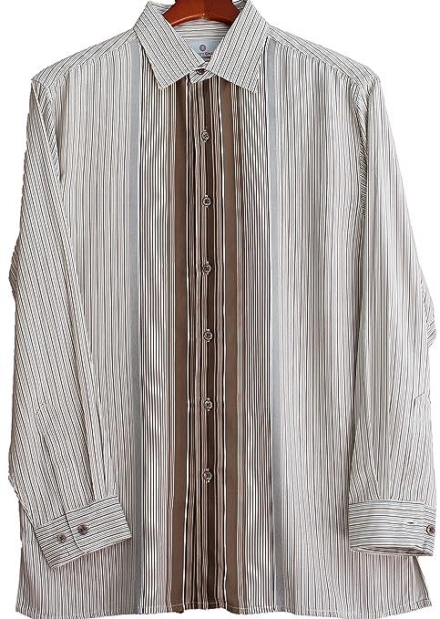 Mens Silk Camp Shirt Button Front Long Sleeve Striped Retro Dress Casual  AT vintagedancer.com