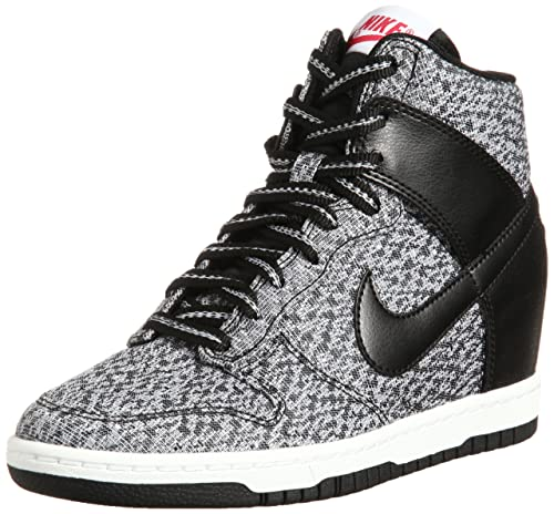 separation shoes 2e4ab 6a278 Nike Dunk Sky Hi TXT 644410 001 Black Wolf Grey Red Hidden Wedge Women s