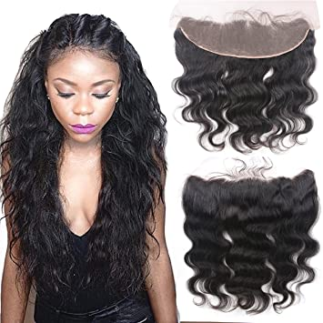 Amazon.com   Rishang Hair Lace Frontal Closure with Baby Hair 13x4 Full Ear  To Ear Brazilian Lace Frontal Closure Free Part Brazilian Body Wave Frontal  Hair ... 92acf70bc1bb