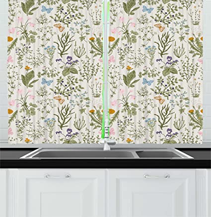 Gentil Ambesonne Floral Kitchen Curtains, Vintage Garden Plants With Herbs Flowers  Botanical Classic Design, Window