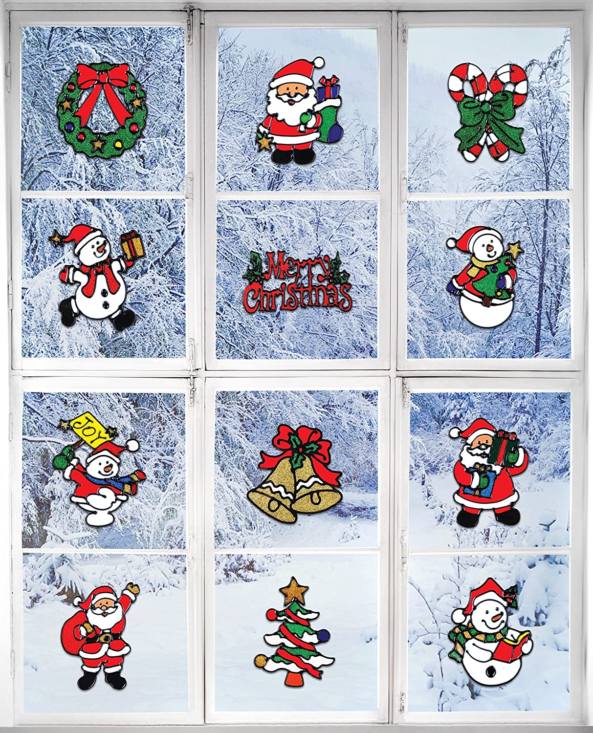 """Santa Claus Snowman /& Many More Giraffe Christmas Decorations /â/€/"""" Holiday Window Sticker Clings 12 Pack"""