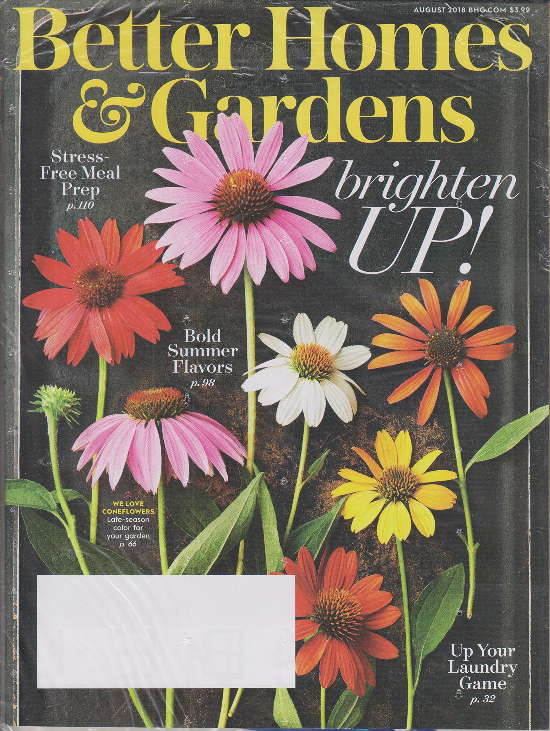 Better Homes U0026 Gardens August 2018 Brighten Up!, Bold Summer Flavors,  Stress Free Meal Prep; Up Your Laundry Game: Various: Amazon.com: Books