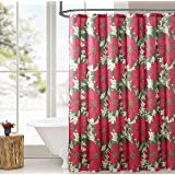 Elegant Holiday Christmas Fabric Shower Curtain: Pretty Poinsettia Jasmine Design,  Red, White, Green