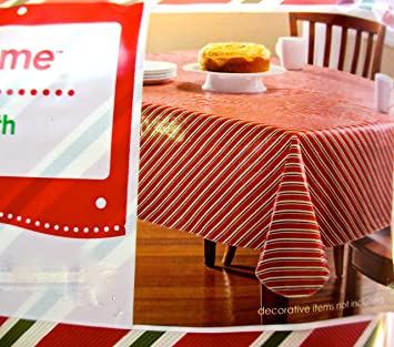 Amazon.com: Walmart Christmas Vinyl Tablecloth,snowflakes,candy ...
