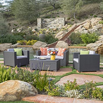 Denise Austin Patio Furniture ~ Capulet Outdoor 4 Piece Grey Wicker Sofa Set