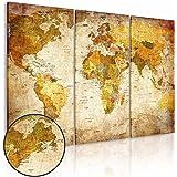 Quadro 120x80 cm - 3 Parti - Quadro su tela fliselina - Stampa in qualita fotografica - mappa mondo 020213-2 120x80 cm B&D XXL
