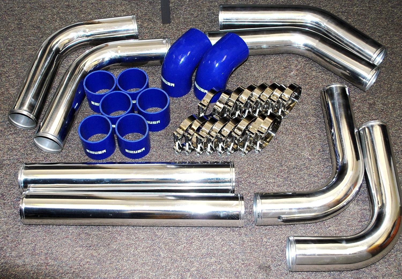 Universal Large Intercooler Oversize 31X12X4 Coresize 24X12X3.5 3 Inlet and Outlet AND Universal Intercooler Piping Kits 12 PCS 3 DIY