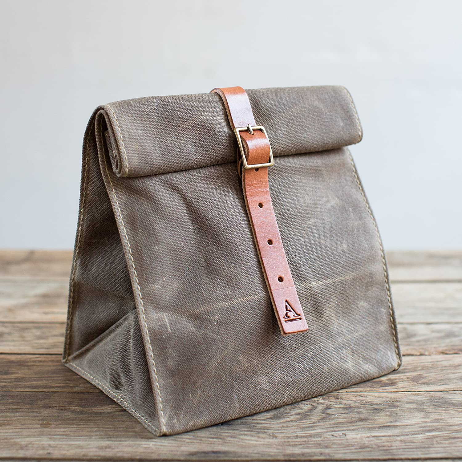 No.215B Waxed Canvas Khaki Lunch Tote - Made in USA
