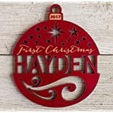 Personalized First Christmas Ornament 2017 (or any other year) from Solid Mahogany or Red Maple Wood.On Sale Now. Buy Early and Save!