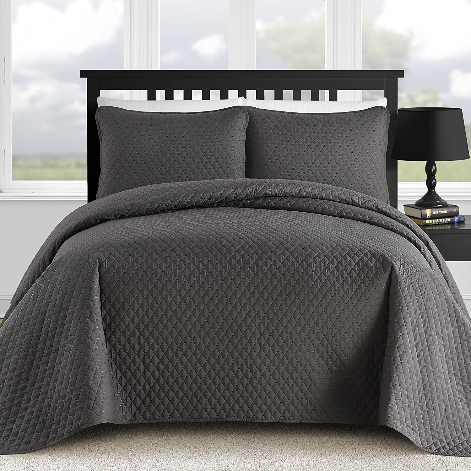 Comfy Bedding 3-Piece Bedspread Coverlet Set Extra Lightweight and Oversized Diamond Embossed, King/Cal King, Charcoal