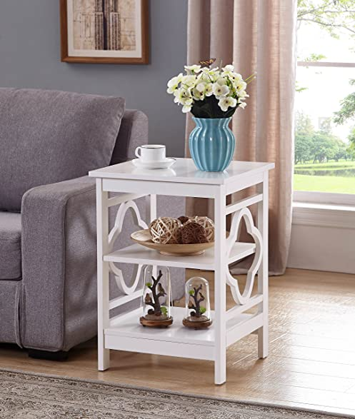 Exceptional White Finish Wooden Quatrefoil Design Chair Side End Table With 3 Tier Shelf