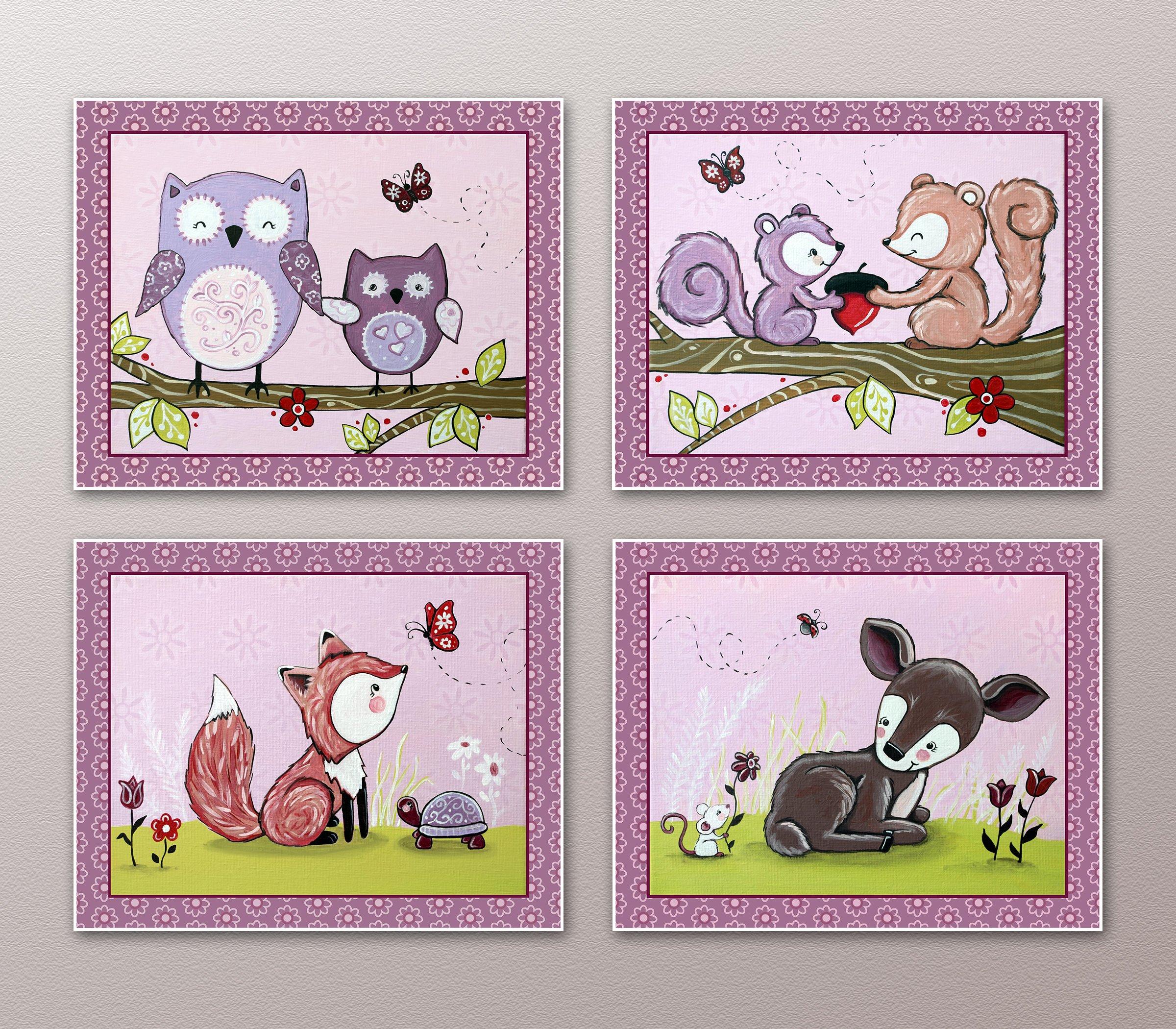 Lavender Forest. Woodland Animals Nursery Art Prints (8''x10'', (4) Set of Four)