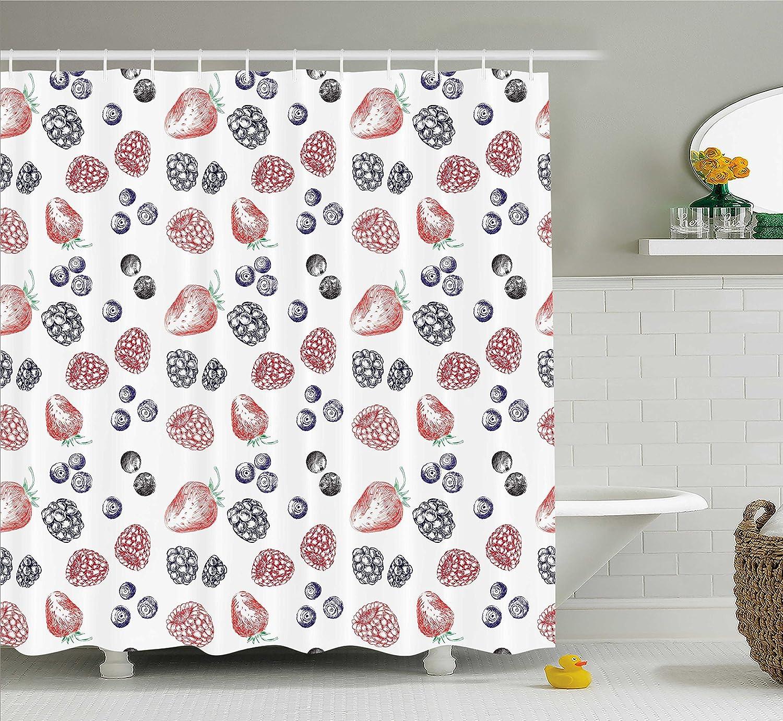 Amazon.com: Ambesonne Modern Shower Curtain, Cute Fruit Figures ...