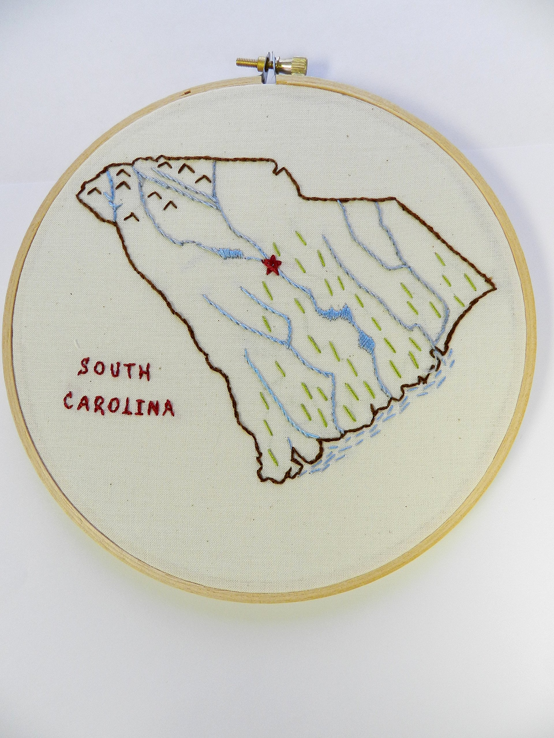 South Carolina. Embroidery Hoop Wall Art. State Outline Map art. Home Love Map. Retirement. Teacher Gift. Coastal Home State. Home Map.