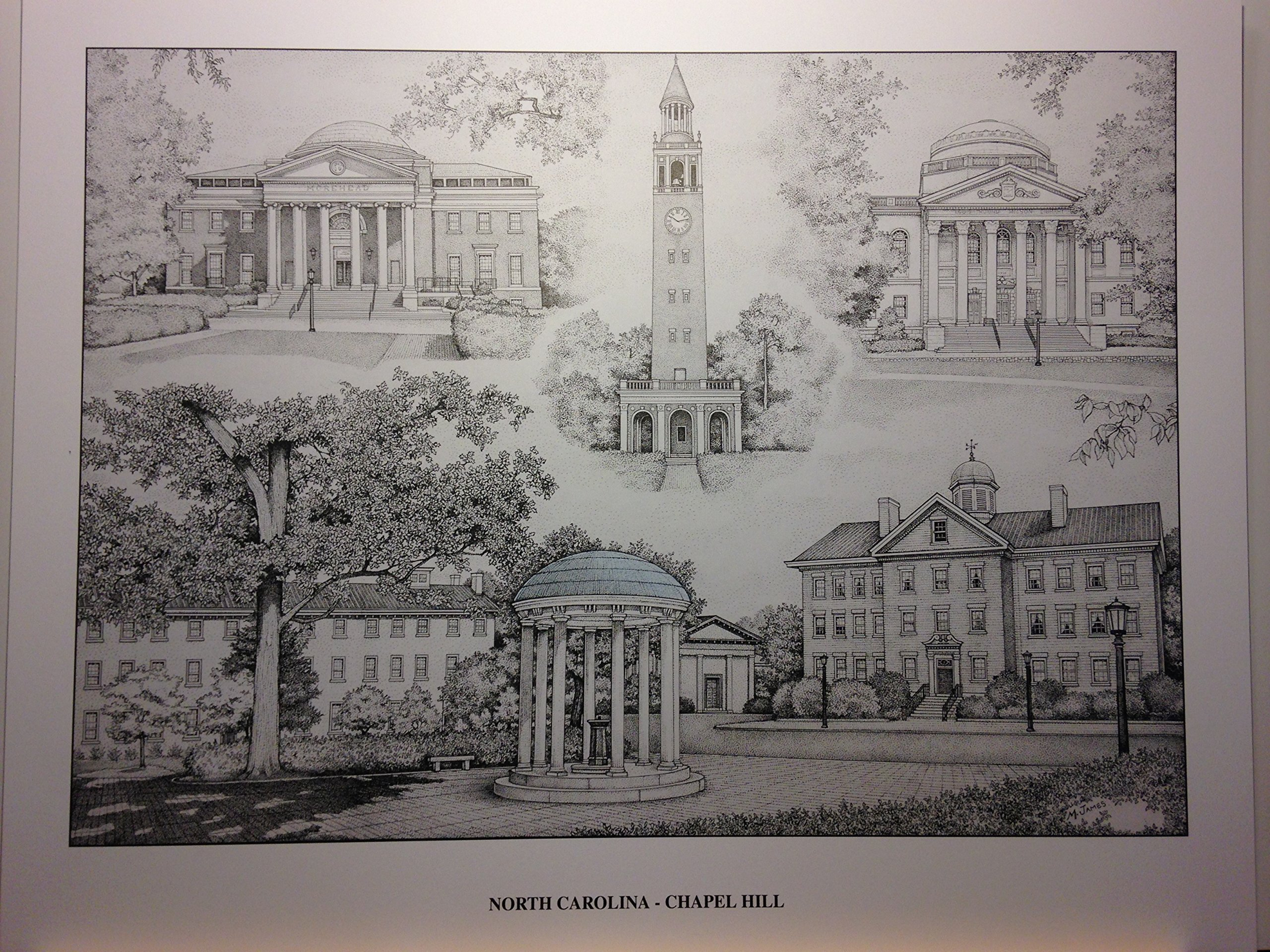 University of North Carolina-Chapel Hill pen and ink collage print