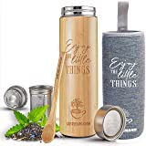 Bamboo Tea Tumbler with Infuser- 17oz Stainless Steel Thermos & Strainer, Mug for Hot/Cold Brew Coffee, Vacuum Insulated…