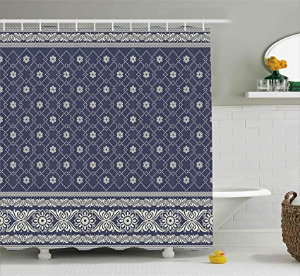 Ambesonne Boho Decor Shower Curtain By Ethnic Pattern Indian Sari Print With Flowers Tribal