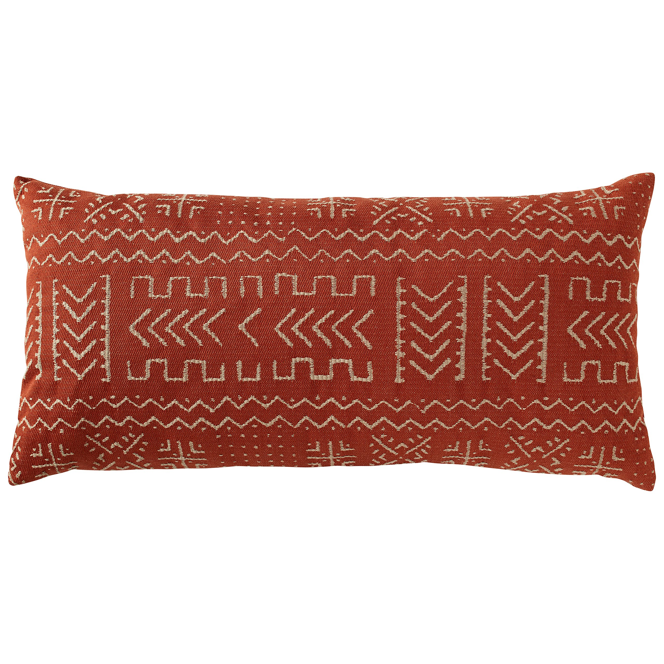 Rivet Mudcloth-Inspired Pillow, 12'' x 24'', Spice