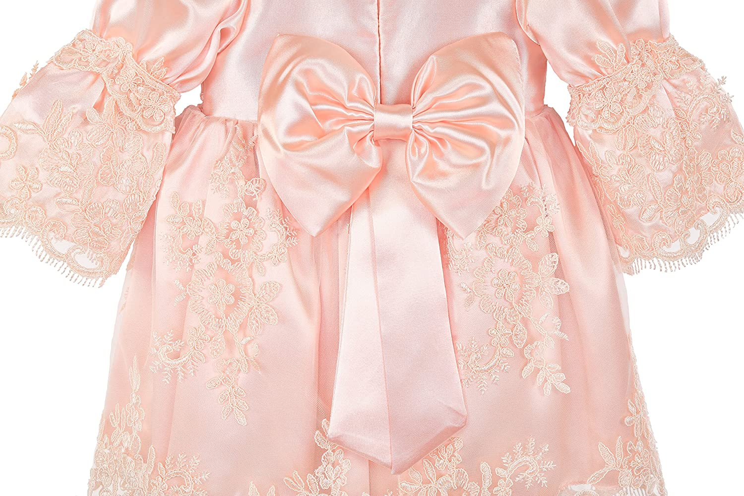 Lilax Baby Girl Newborn Peach 3//4 Sleeve Lace Princess Dress Gown 4 Piece Deluxe Set 3302