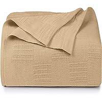 Utopia Bedding Woven Cotton Blanket (Beige, Twin/Twin XL)