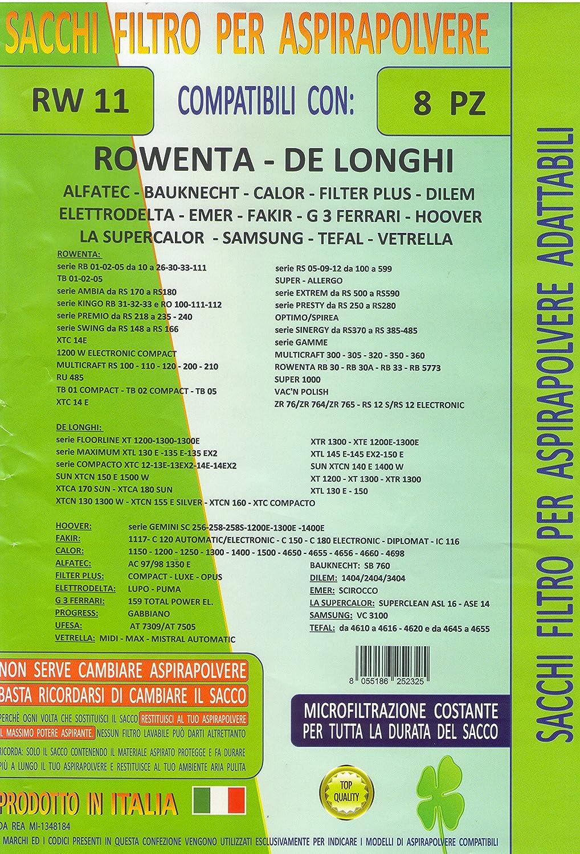 MFRW11 confezione 8 pezzi sacchetti ricambio ROWENTA - DE LONGHI - HOOVER - FAKIR - CALOR - ALFATEC - FILTER PLUS - ELETTRODELTA - G 3 FERRARI - PROGRESS - UFESA - VETRELLA - BAUKNECHT - DILEM - EMER - LA SUPERCALOR - SAMSUNG - TEFAL compatibilità m