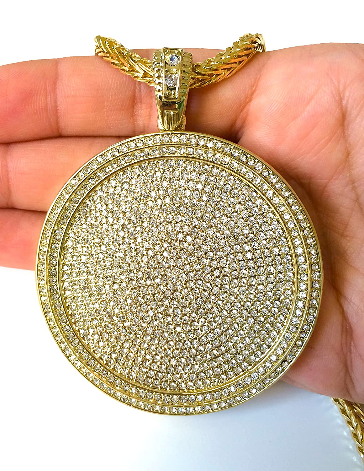 index necklace gsp pendant framed diamond stainless steel medallion with chain