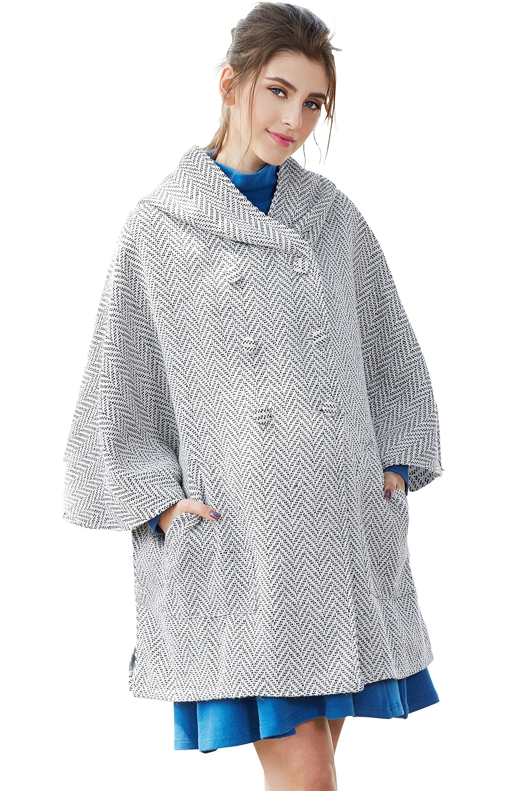 Sweet Mommy Maternity and Babywearing Hooded Tweed Poncho Coat WhiteF