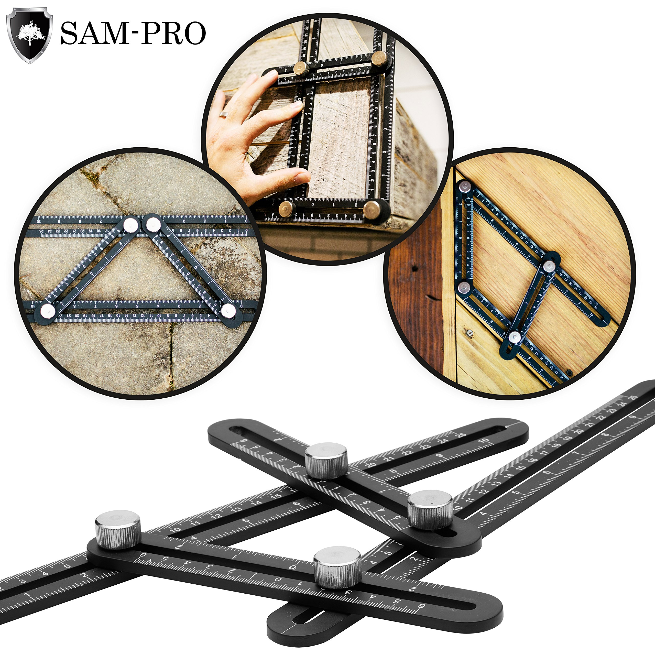 Template Angle Tool-set: All Metal Aluminum Alloy Angleizer. Multi Angle Universal Angularizer Ruler for Measuring & Design. Travel Case, 5 Carpenter Pencils, & Sharpener Included!