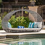 GDFStudio Bedford Outdoor Wicker Overhead Canopy Daybed w/Water Resistant Cushion (Grey/White)