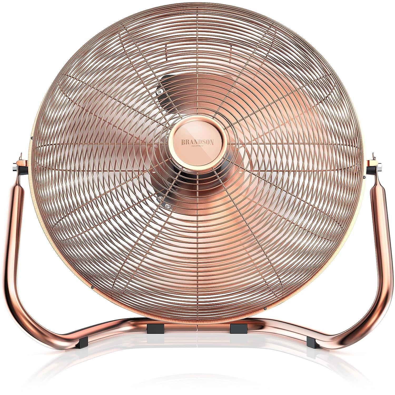 Brandson – Retro Windmaschine/Ventilator im Kupfer-Design (Retro-Stil) | Standventilator 50cm | Leistungsaufnahme 120W | hoher Luftdurchsatz | Bodenventilator