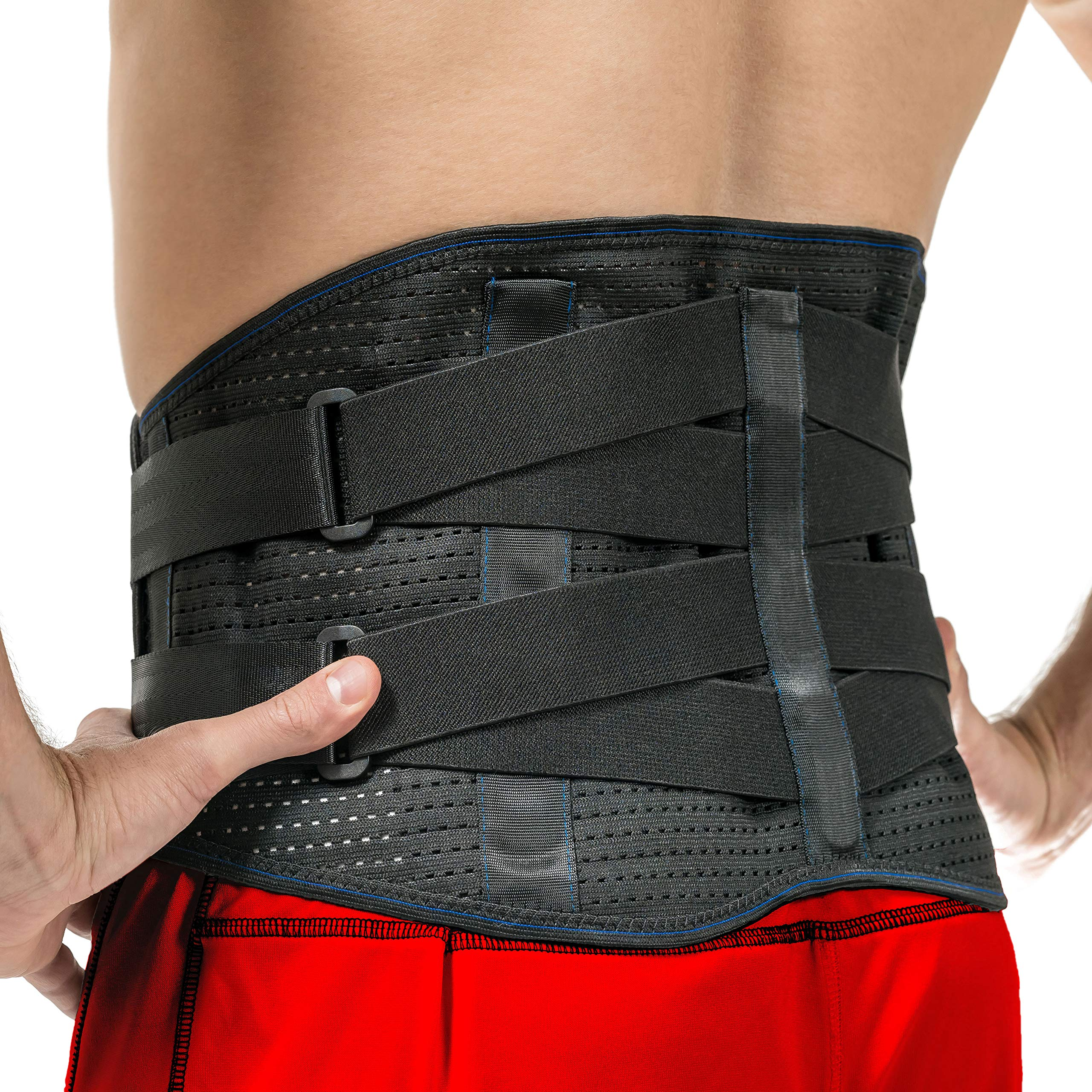 Lower Back Brace by FlexGuard Support - Lumbar Support Waist Backbrace for Back Pain Relief - Compression Belt for Men and Women - Back Braces for Sciatica, Scoliosis and Herniated Disc (Med/Large) by Flexguard Support