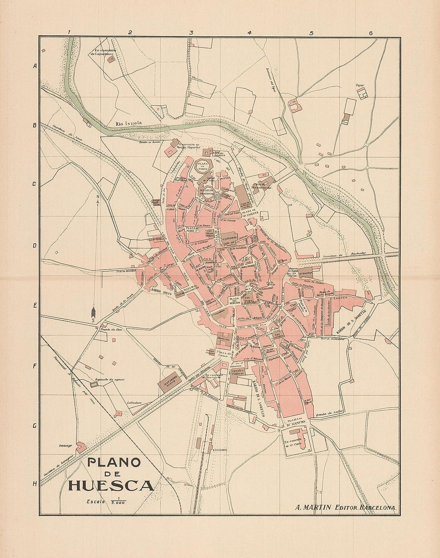 Map Of Spain Huesca.Amazon Com Old Spain Map Plano De Huesca Martin 1911 23 X