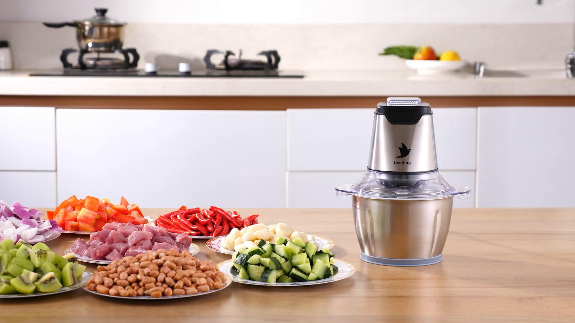 Nestling® Picadora eléctrica de 500W, con 4 cuchillas afiladas y tazón de acero inoxidable de 1.2L, picadora de cocina para carne, verduras,cebolla y frutas: Amazon.es: Hogar