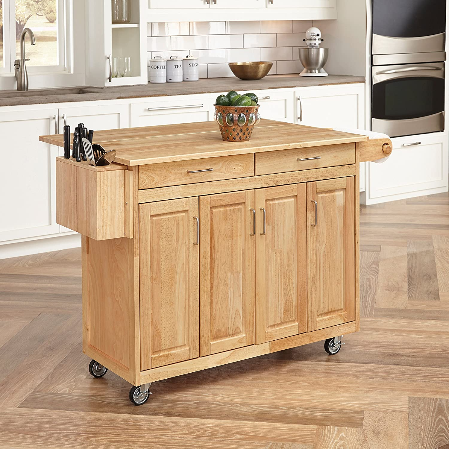 Amazon com home styles 5023 95 wood top kitchen cart with breakfast bar natural finish kitchen dining
