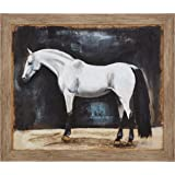 Amazon Brand – Stone & Beam Framed Rustic Appaloosa Horse Print II Wall Art Decor - 23 x 27 Inch, Warm Grey Barnwood