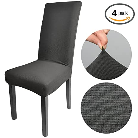 Emart Polyester Spandex Black Color Elasticity Yarn Dyed Jacquard Fabric Cover Stretch Dining Room Chair Slipcovers