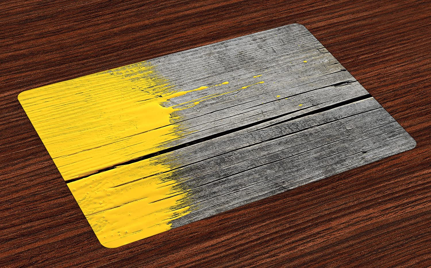 Ambesonne Yellow Place Mats Set of 4, Ancient Wooden Board with Yellow Paint Splashes Brush Stroke Grunge Design Elements, Washable Fabric Placemats for Dining Room Kitchen Table Decor, Yellow Grey