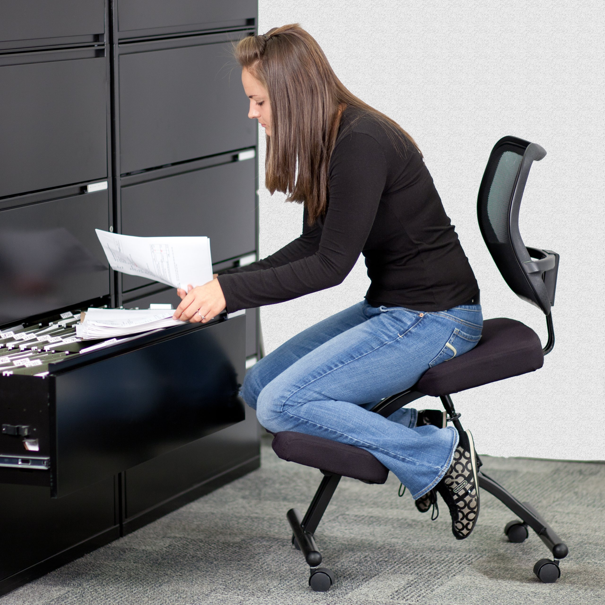 Emma + Oliver Mobile Ergonomic Kneeling Office Chair with Black Mesh Back by Emma + Oliver