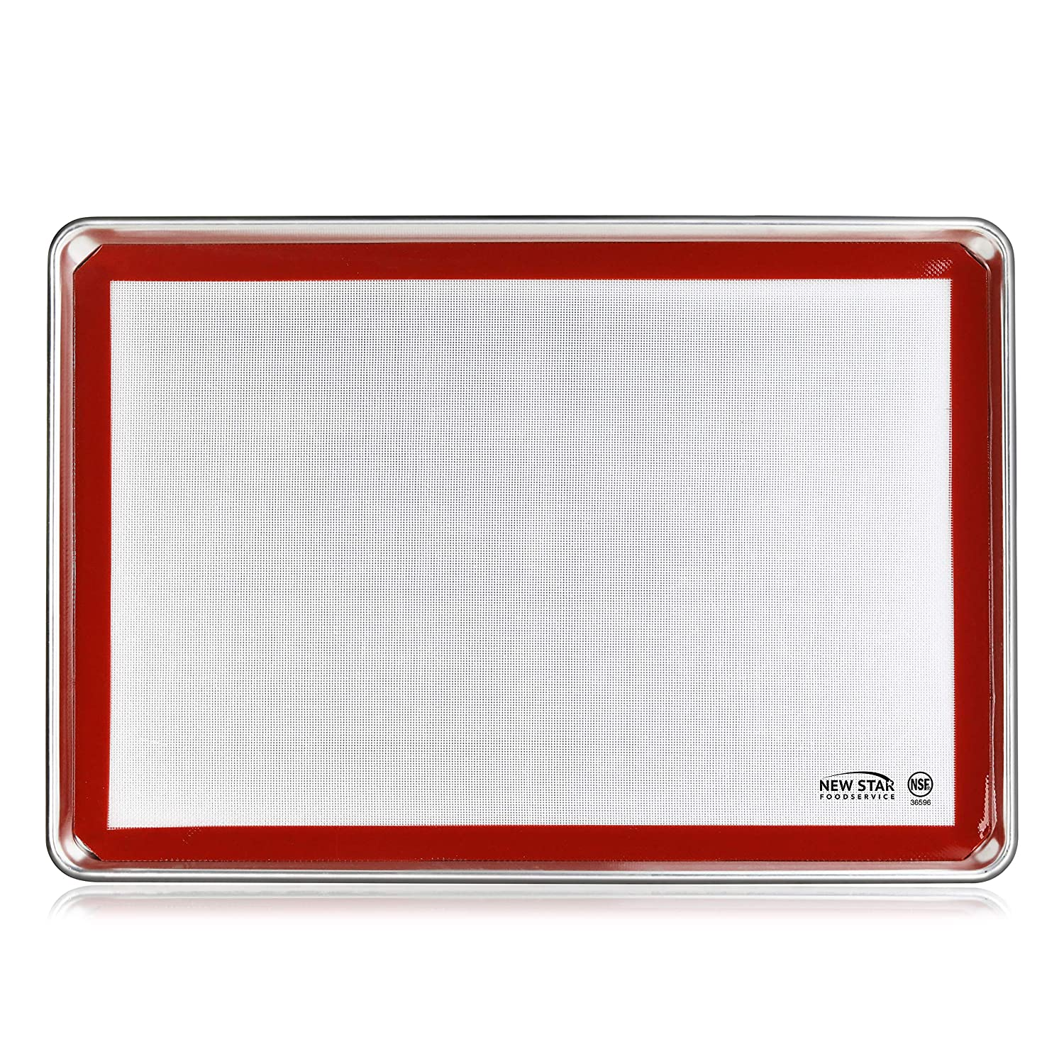 New Star Foodservice 38453 Commercial 18-Gauge Aluminum Sheet Pan and Silicone Baking Mat Set, 18 x 26 inch (Full Size)