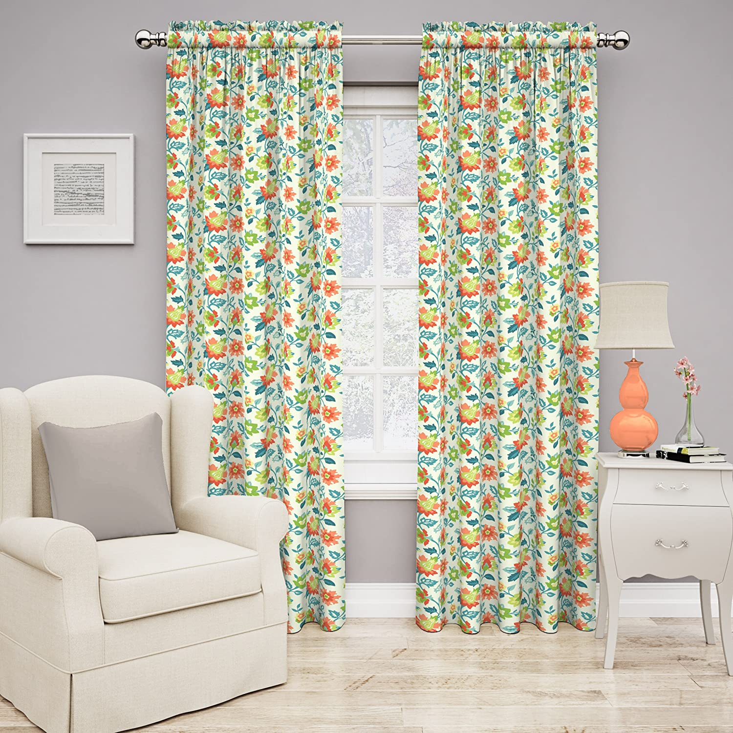 Traditions by Waverly 14969052084CPI Set in Spring 52-Inch by 84-Inch Floral Single Window Curtain Panel, Capri