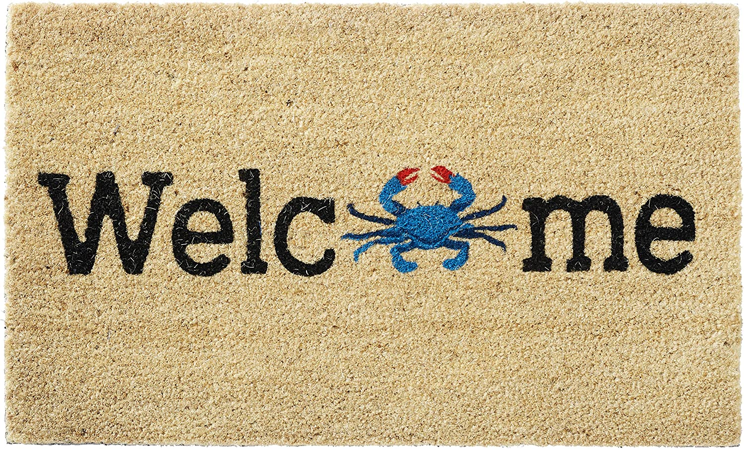 HF by LT Welcome O Crab 100% Coir Doormat, 18 x 30 inches, Naturally Durable, PVC-Backing, Sustainable