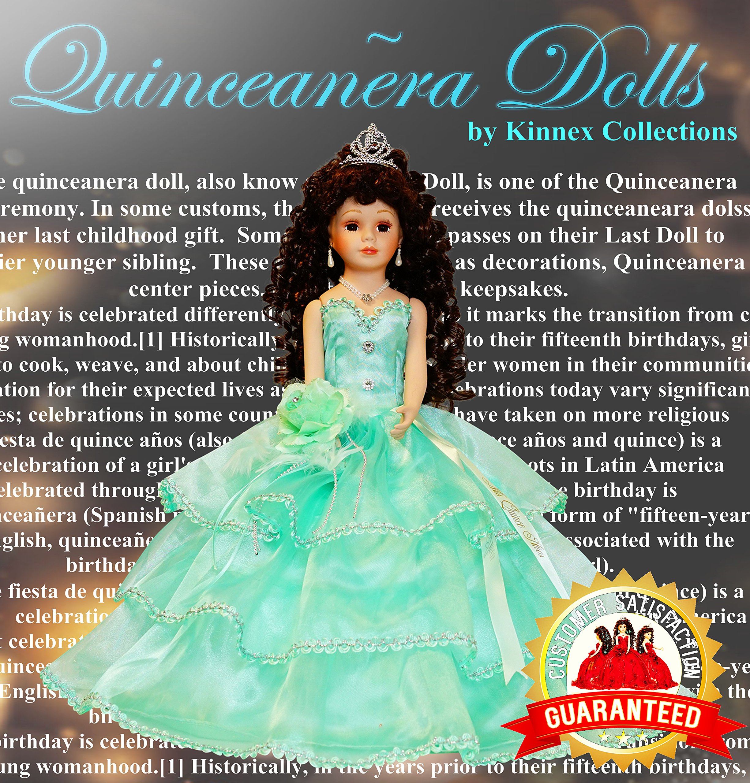 18'' Porcelain Quinceanera Umbrella Doll (Table Centerpiece)~Mint~ KB18724-25B by Kinnex Collections by Amanda