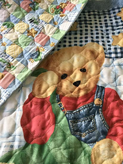 TEDDY BEAR PRE-QUILTED PANEL - Double Sided Quilting Panel - Nursery Fabric  Panel - 100% Cotton