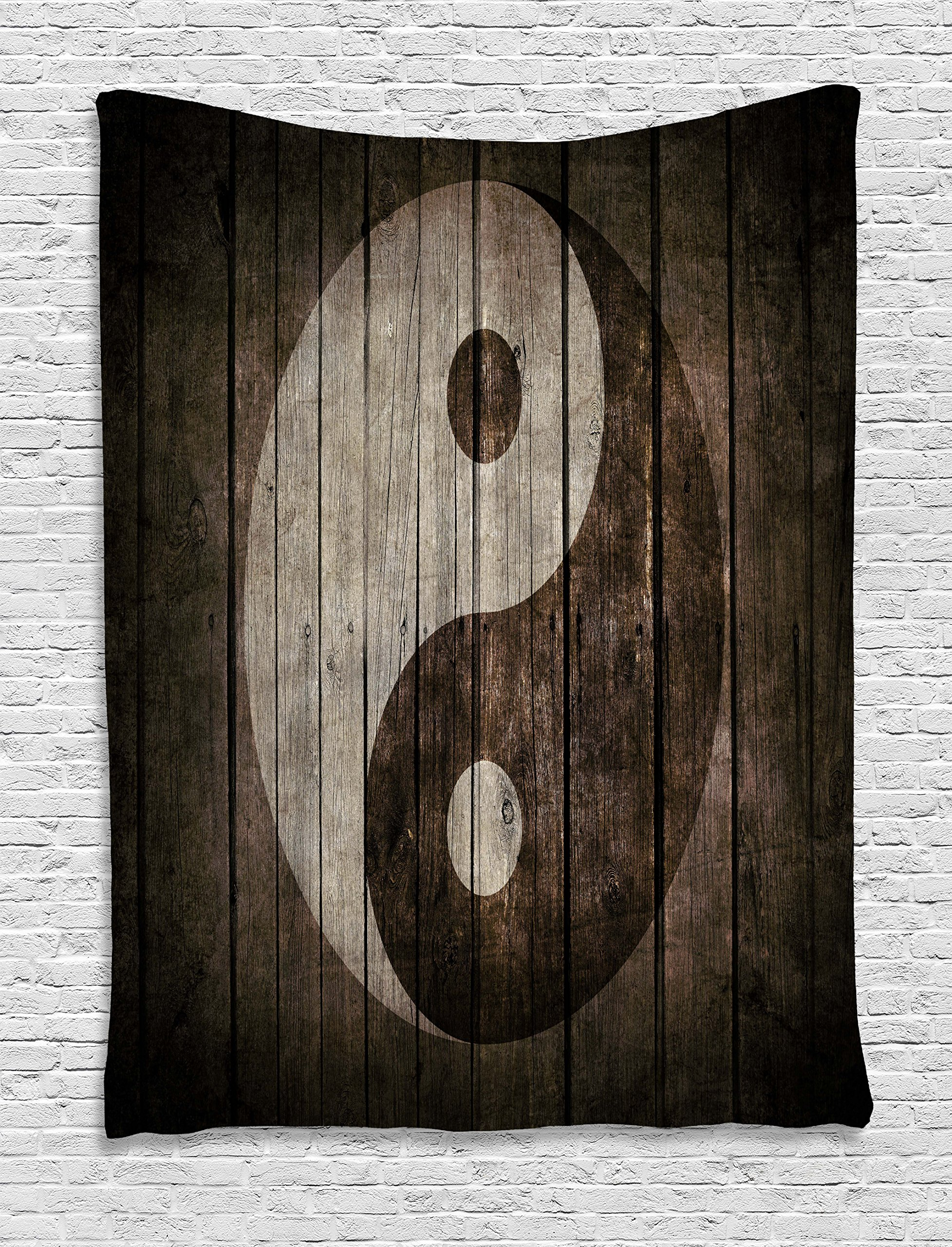 Ambesonne Ying Yang Decor Collection, Rustic Wood with Ying Yang Sign Art Grunge Design Zen Peace Balance Yoga Nature Theme, Bedroom Living Room Dorm Wall Hanging Tapestry, 40 X 60 Inches, Beige Brown