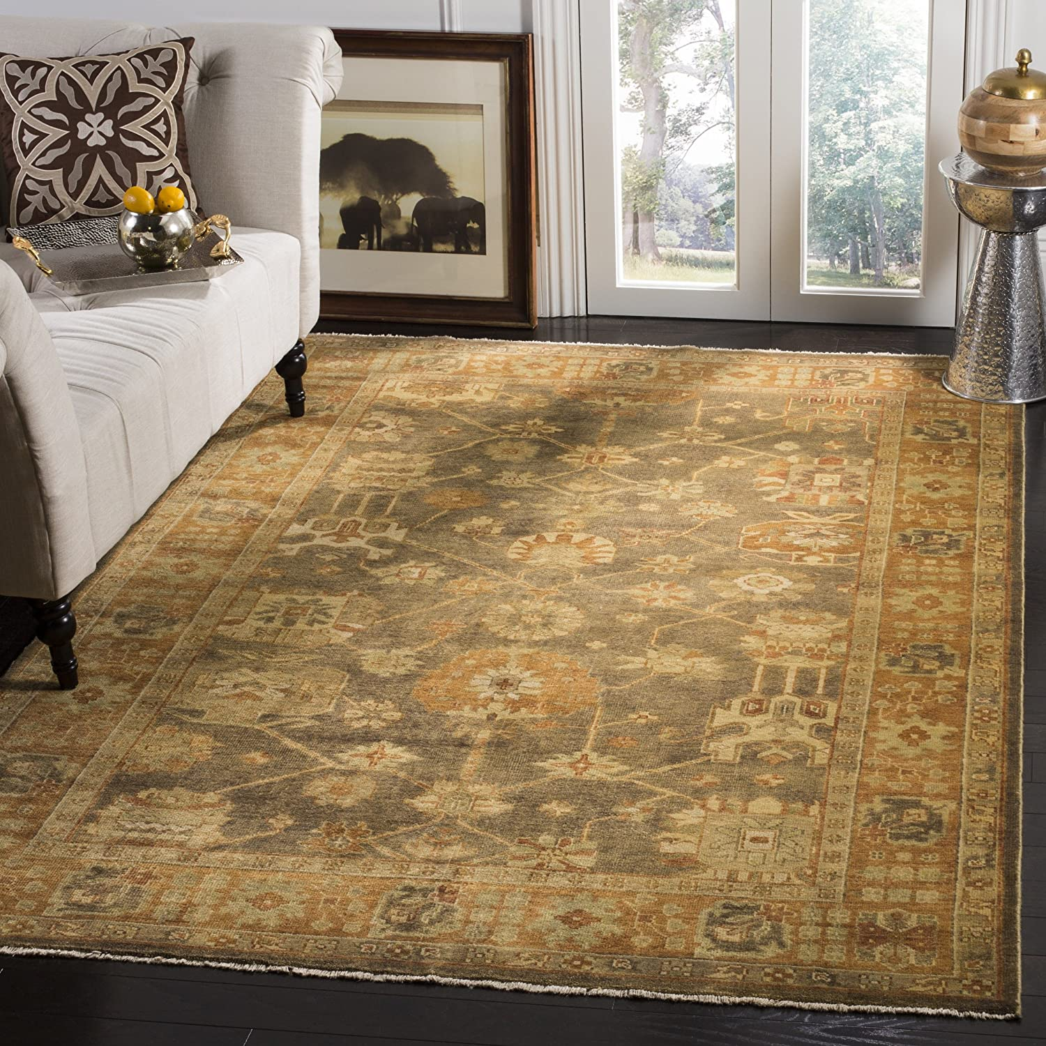 Amazon Com Safavieh Oushak Collection Osh144a Hand Knotted Brown