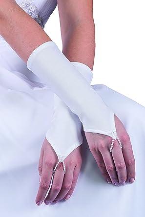 e335526613c MGT-Shop Brauthandschuhe Braut Handschuhe Hochzeit Brautzubehör Zubehör  Brautaccessoires (Ivory Creme)