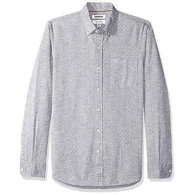Brand - Goodthreads Men's Slim-Fit Long-Sleeve Polka Dot Homespun Chambray Shirt: Clothing