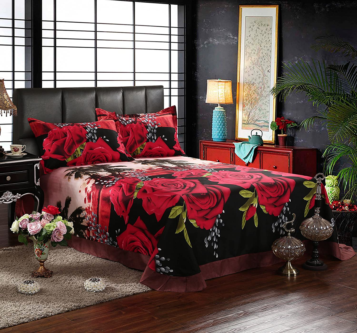 Red and black bedding - Amazon Com Queen Size 3d Bedding Sets 100 Cotton Red Rose Black Print 4 Piece Duvet Cover Bedding Sets Include 1 Duvet Cover 1 Bed Sheet 2 Pillow Case