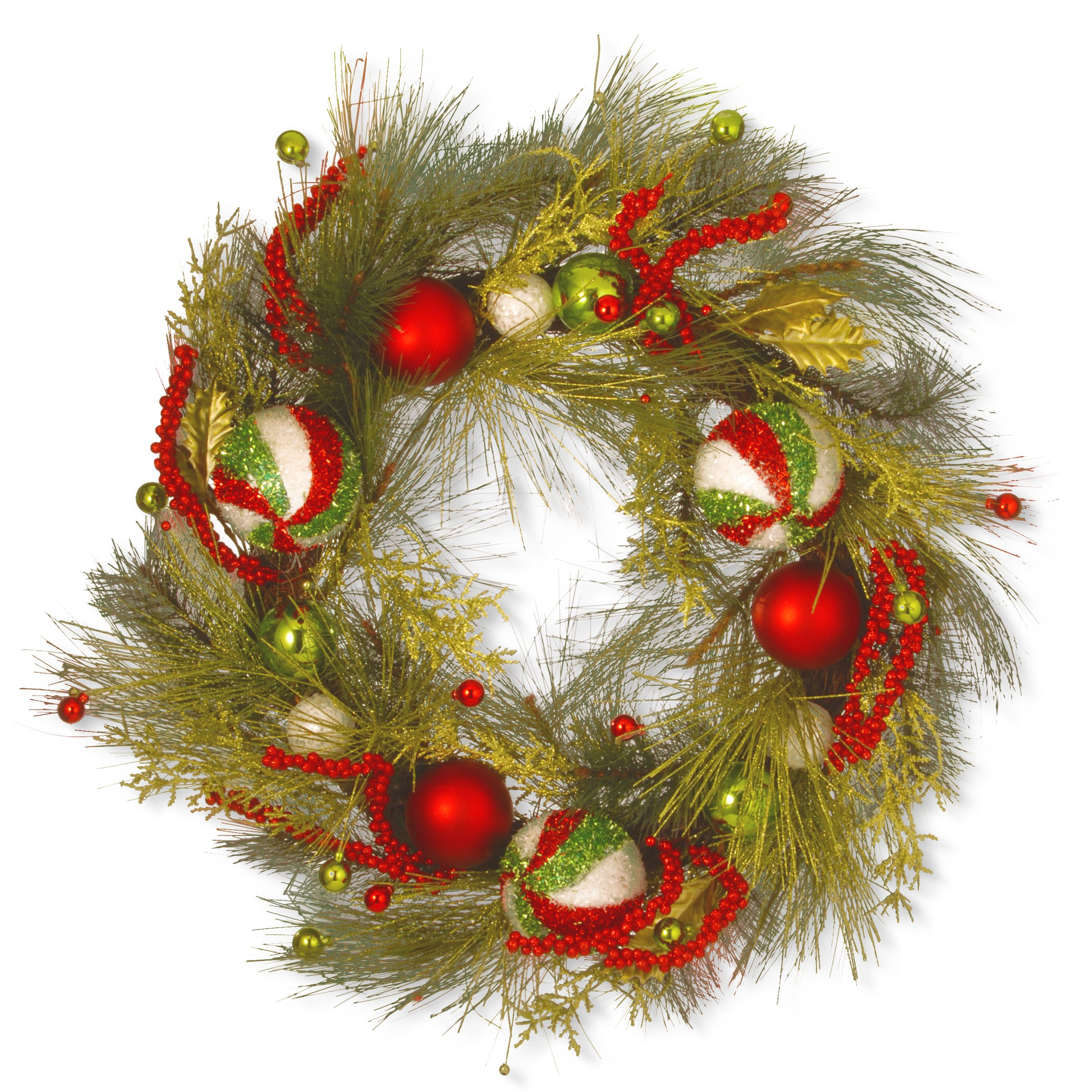 National Tree 30 Inch Christmas Ornament Wreath with Red and Green (RAC-16009W30)